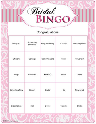 Eloquent image in printable bridal bingo