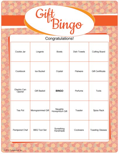 Printable Bridal Shower Gift Bingo @Bridal-Shower-Games.com