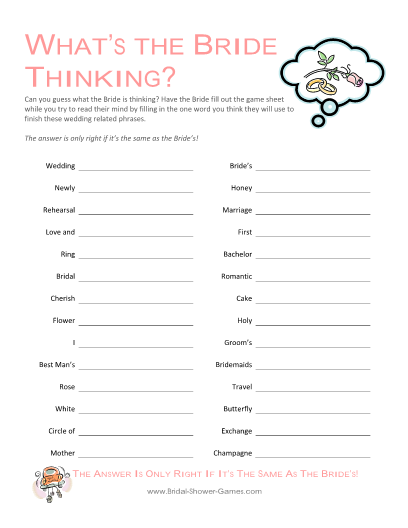 templates for bridal shower games - what 39 s the bride thinking game bridal shower